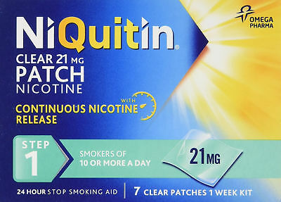 NiQuitin Clear 24 Hour 7 Patch Nicotine Step 1 21mg 1 Week Kit Stop Smoking Aid