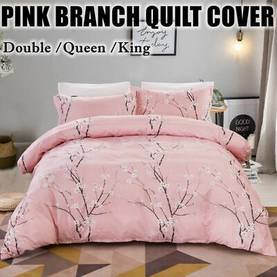 Pink Quilt Duvet Cover Set Double Queen King Size Bedding New Doona Cover