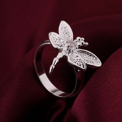 Fashion 925Sterling Solid Silver Jewelry Crystal Dragonfly Rings For Women R017