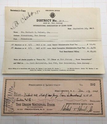1943 Frenchtown Lions Club Canceled Check To District No.16b Ands Invoice Rare