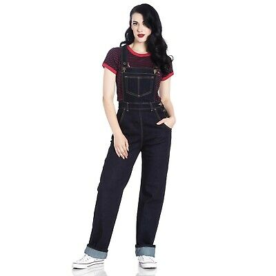 Hell Bunny Navy Elly May Dungarees Overalls Denim Retro 50s Rockabilly Pin Up
