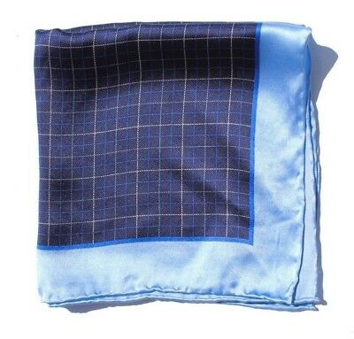 Gent's Ice Blue & Navy Blue Check Hand-Rolled Silk Pocket Square / Handkerchief!