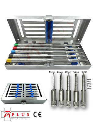 Set of 5 Sinus Osteotomes-Straight pointer-tip Handle,Free Stainless Cassette CE
