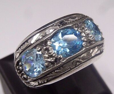 Turkish  925 Sterling Silver SPECIAL Aquamarine  Mens Ring Sz 11 Free Resize