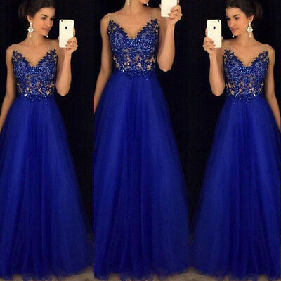 Women's Mesh Long Formal Wedding Evening Ball Gown Party Prom Bridesmaid Dress