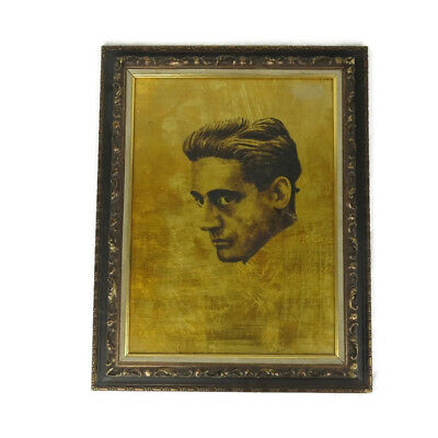 Mid Century Modern Vtg Gold Leaf Foil Profile Portrait Man Ornate Frame Painting