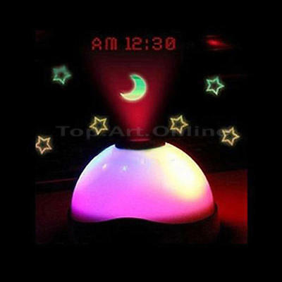 Color Change Table Clock LED Star Night Light Magic Moon Time Projector Alarm