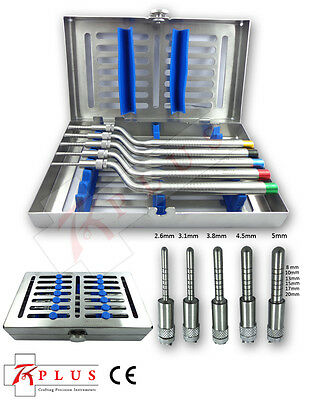 Sinus Osteotomes-Offset Set- 5 Stainless Cassette convex-tip Handle With Free CE