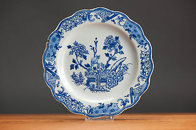 High Level! 18c. Qianlong Lobbed Export Blue & White Plate Chinese Qing Top!!