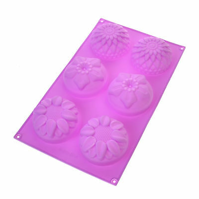 DIY 6 Cavity Flower Shaped Silicone Handmade Soap Candle Cake Mold Supplies