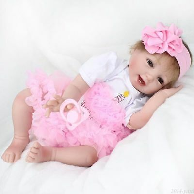"""Handmade Pink Lace Dress Clothes Suitable For 22"""" Reborn Baby Not Included Doll"""