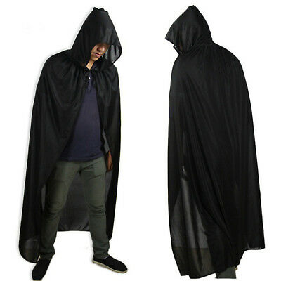 "ADULT 65"" HOODED LONG CLOAK FANCY DRESS COSTUME CAPE WITH HOOD World Book Day"