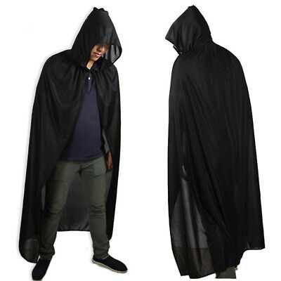 "Adult 65"" Hooded Long Cloak Fancy Dress Costume Cape With Hood Halloween Party"