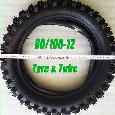 "80/100-12"" Rear Knobby Tyre Tire + Tube PIT PRO Trail Dirt Bike 3.00-12 12"" Inch"