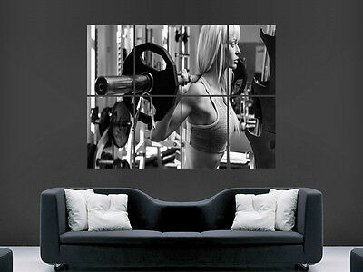 Sexy Girl Hot Gym Fighting Weights  Fitness Wall Poster Art Picture Print Huge