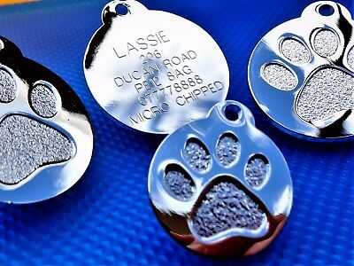 Pet ID Tag Dog tag Cat Tags Highly Polished Chrome- Gold ENGRAVING OPTIONS