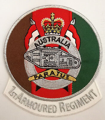 1St Armoured Regiment Patch With Heat Adhesive Backing 90Mm In Diameter
