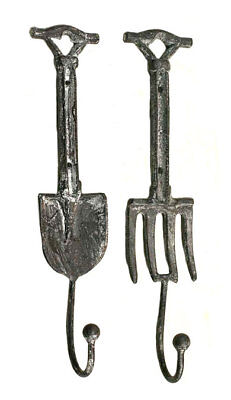 Set Of 2 Rustic Garden Tools Spade & Fork Wall Hooks Country Casual