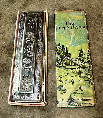 Vintage Hohner Echo Double Sided Harmonica Keys of C/G  Orig Box Made in Germany