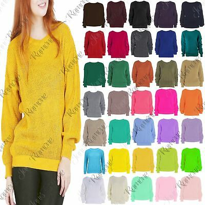 New Womens Cable Knitted Basic Casual Baggy Jumper Cosy Winter Warm Sweater Top