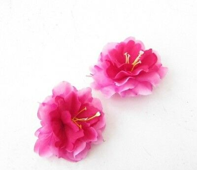 2 x Cerise Hot Pink Peony Flower Hair Grips Clips Bobby Pins Slides Rose 4890