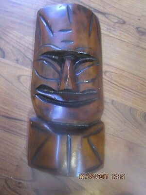 Vintage Dark  Wood Hand Carved Smiling Tiki Mask Totem Hawaiian