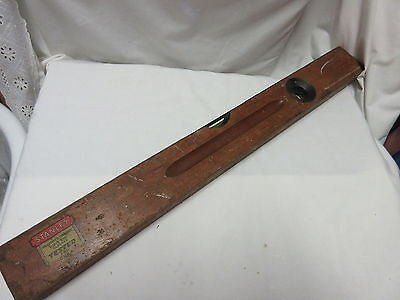 "Antique Vintage Stanley Sweetheart SW 14"" Cherry Wood Level"