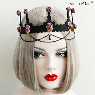 Rose Headdress With Black Crown Gothic Hair Ornament Drill-Studded Headband