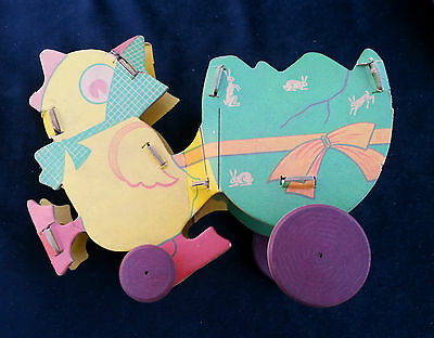 Antique EASTER Cardboard Chick Pulling Wagon With Wood Spinning Wheels