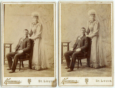RARE VINTAGE Two Identical! Wedding Couples Cabinet Cards - The Bride and Groom