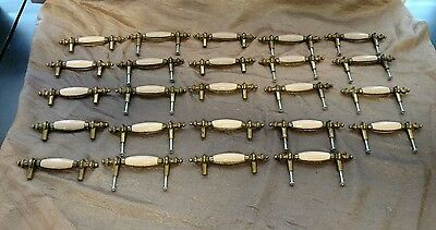 Lot Of 24 Vintage Hardware Drawer/Cabinet Pulls Ivory Ceramic Enamel Brass