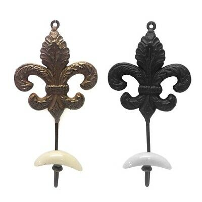 French Country Fleur de Lis Cast Iron Wall coat robe Hook Set of 2