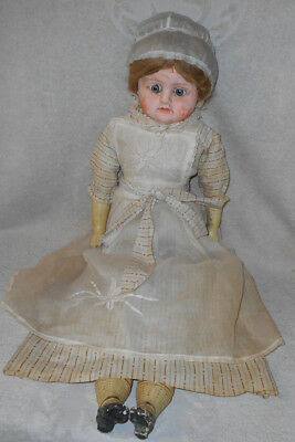 """30"""" Antique 1850s Paper Mache Head Doll Glass Eyes Wooden Legs Arms Gesso Finish"""