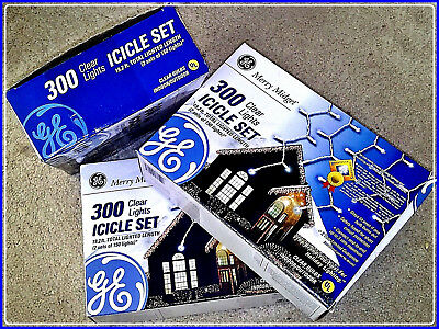 LOT OF 3 NEW SETS GE Merry Midget 300 Clear Lights Icicle Set New With Boxes