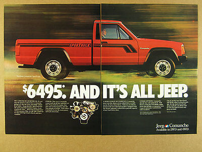 1987 AMC Jeep Comanche SporTruck red pickup truck photo vintage print Ad