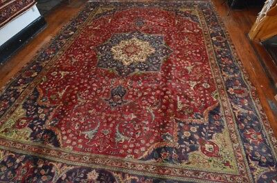 Vintage Persian Classic Floral Design Rug, 10'x13', Red/Purple, All wool pile