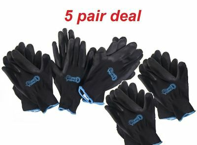 Grease Monkey Large Black Gorilla Grip Gloves (5-Pack))