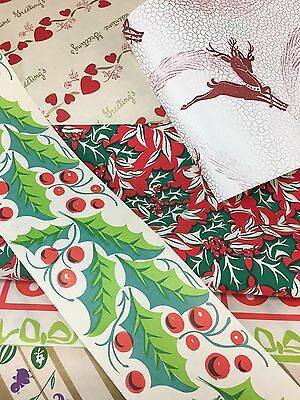 24 feet Vintage Wrapping Paper Lot Retro 1950s 1960s Christmas Deer Gift Wrap