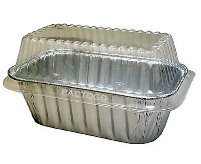 Durable Packaging Durable 1 lb. Aluminum Foil Small Mini-Loaf Bread Pan w/Clear