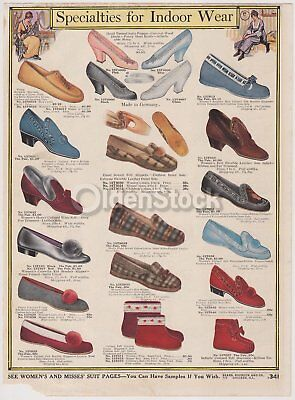 Victorian Women's High Fashion Slipper Shoes Antique Graphic Advertising Flyer
