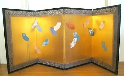 "Vtg Japanese Screen/divider~4 Panels~Gold Leaf~Silk~Paper Fans~Wood~21""x54"""