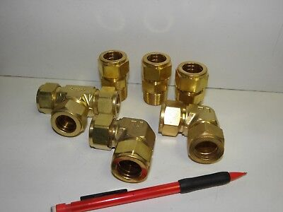 "Batch of 6 Swagelok/Parker Brass compression fittings ¾"" Tube and ¾""-NPT"
