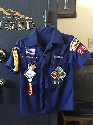 Vintage Official Cub Scout Class A Shirt with Patches Short Sleeve