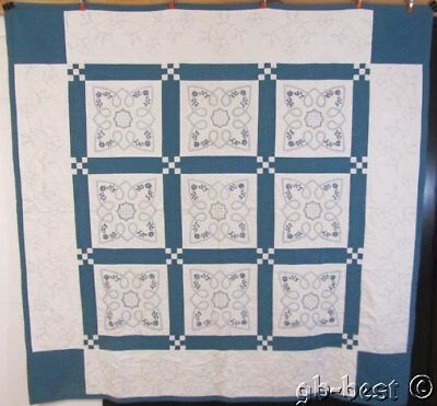 Farmhouse PA c 1930s Amish HEARTS Postage Embroidery Vintage QUILT Lapp Family