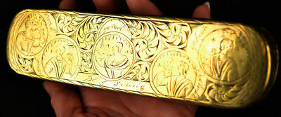 ANTIQUE 17-18TH c DUTCH BRASS TOBACCO BOX HAND ENGRAVED W/ 4 ELEMENTS & 5 SENSES