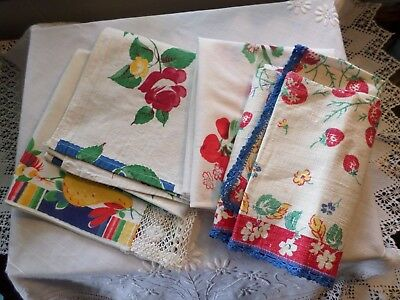 Vintage Group of 50's Print Towels Fruit Flowers Mexican Red Blue Green