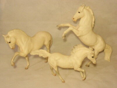 Lot of 3 Breyer Classic White Horses: Rearing Fighting Andalucian Stallion AS-IS
