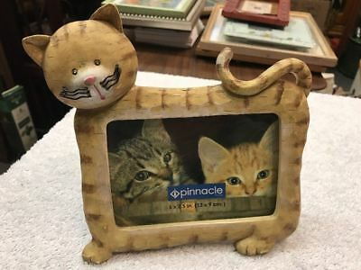 Small Cat Design Frame Glass Front Resin Brown Stripe Photo 5 X 3.5 Inches