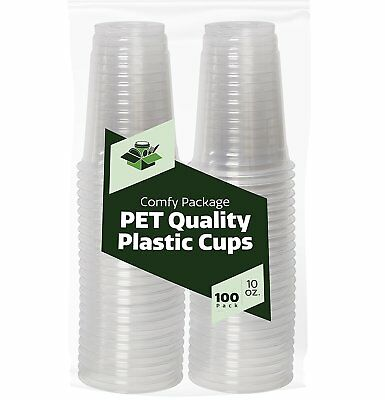 10 oz. Crystal Clear Plastic Cups [100 Pack] PET Quality Cups