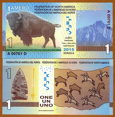 Federation of North America, 1 Amero, 2015, Polymer, New, UNC